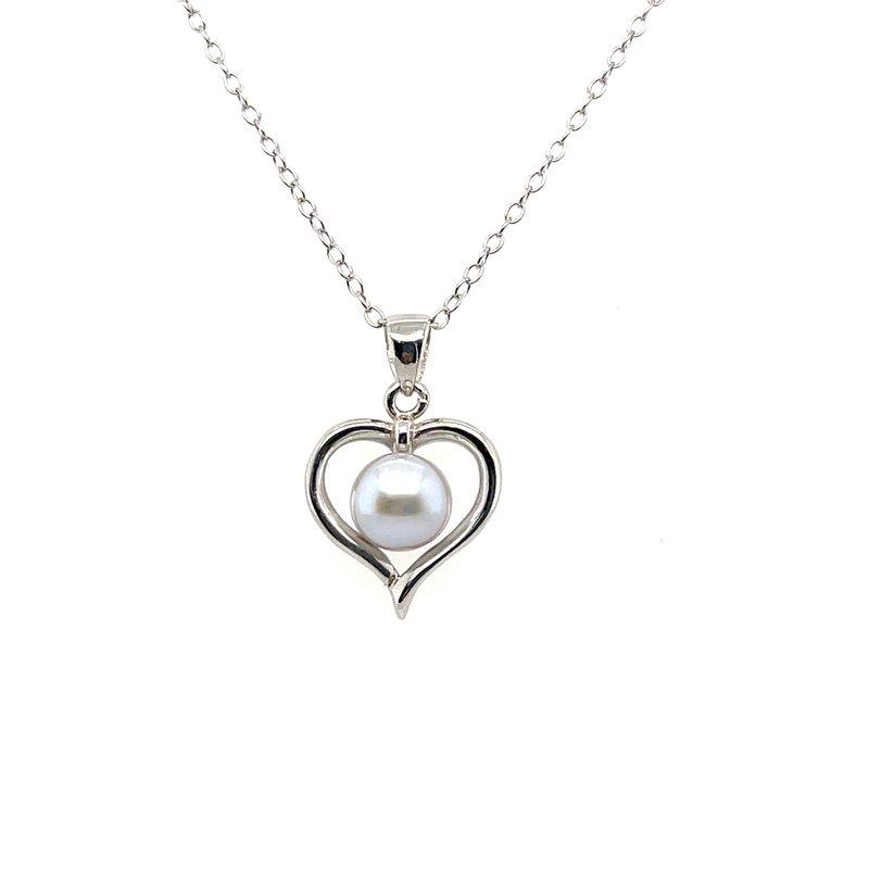 Gems One Yangtze Grey Pearl Heart Pendant