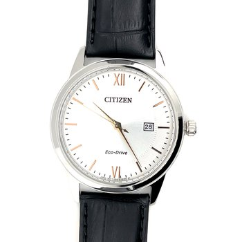 Citizen Watch with Black Leather Band, Roman Numerals/Markings, and Eco Drive Technology