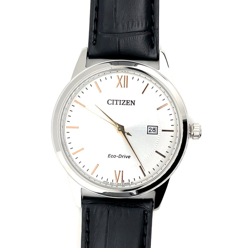 Citizen Citizen Watch with Black Leather Band, Roman Numerals/Markings, and Eco Drive Technology