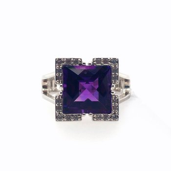 Amethyst With White Sapphire Ring