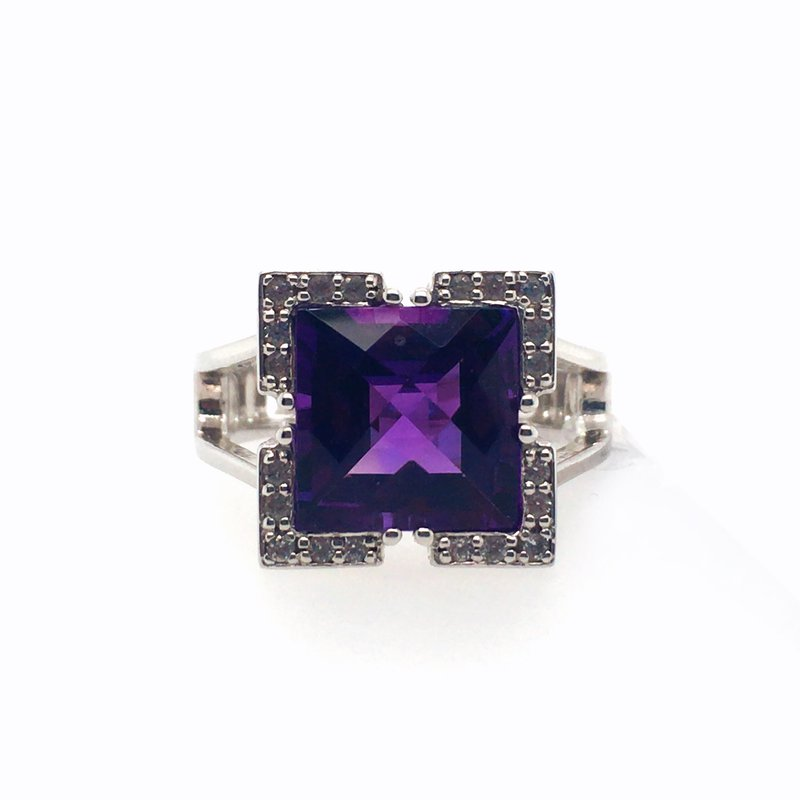 Frank Reubel Amethyst With White Sapphire Ring