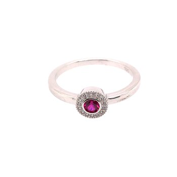 Kelly Waters Micropave Round Simulated Ruby Ring With Simulated Diamonds