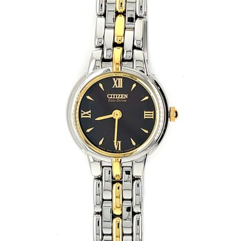Citizen Watch With Yellow Gold Plating On Bracelet And Bezel, Black Dial With Gold Handsl With Eco Drive Technology