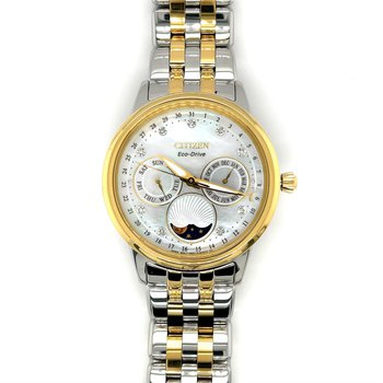 Citizen Watch With Moonphase Mother Of Pearl Dial, Calendrier With Genuine Diamonds On Dial, Time And Day, Eco Drive