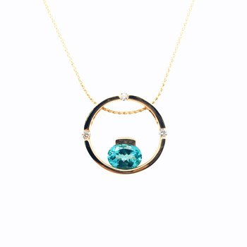 Circle Pendant With Oval Paraiba Apatite Diamonds
