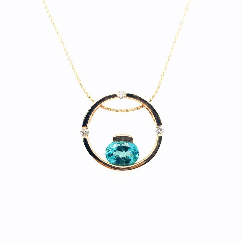 Frank Reubel Circle Pendant With Oval Paraiba Apatite Diamonds