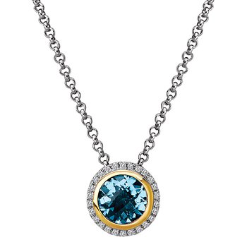 Eleganza Halo Necklace with Blue Topaz and Diamonds