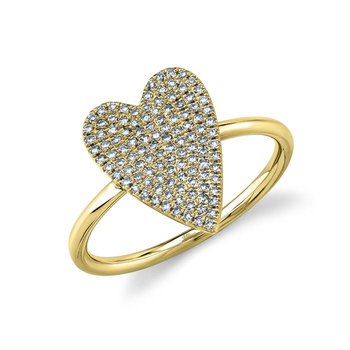 14 Karat Yellow Gold 0.26 Carat Pave Heart Ring