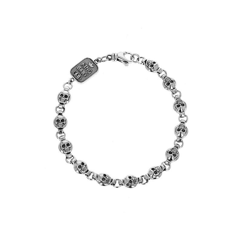King Baby Round Skull Chain Bracelet