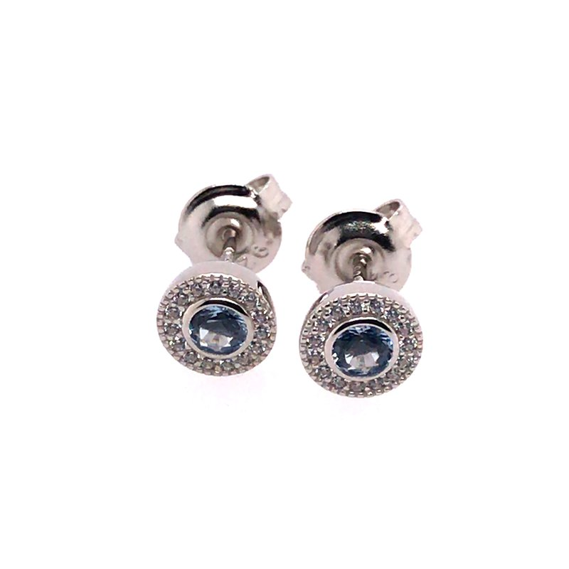 Kelly Waters Kelly Waters Micropave Round Simulated Blue Topaz Earrings With Simulated Diamonds