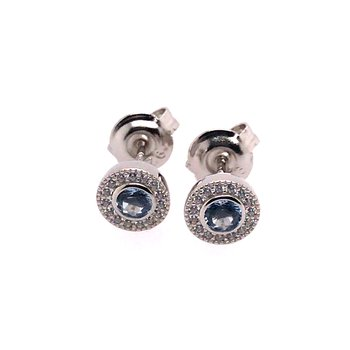 Kelly Waters Micropave Round Simulated Blue Topaz Earrings With Simulated Diamonds