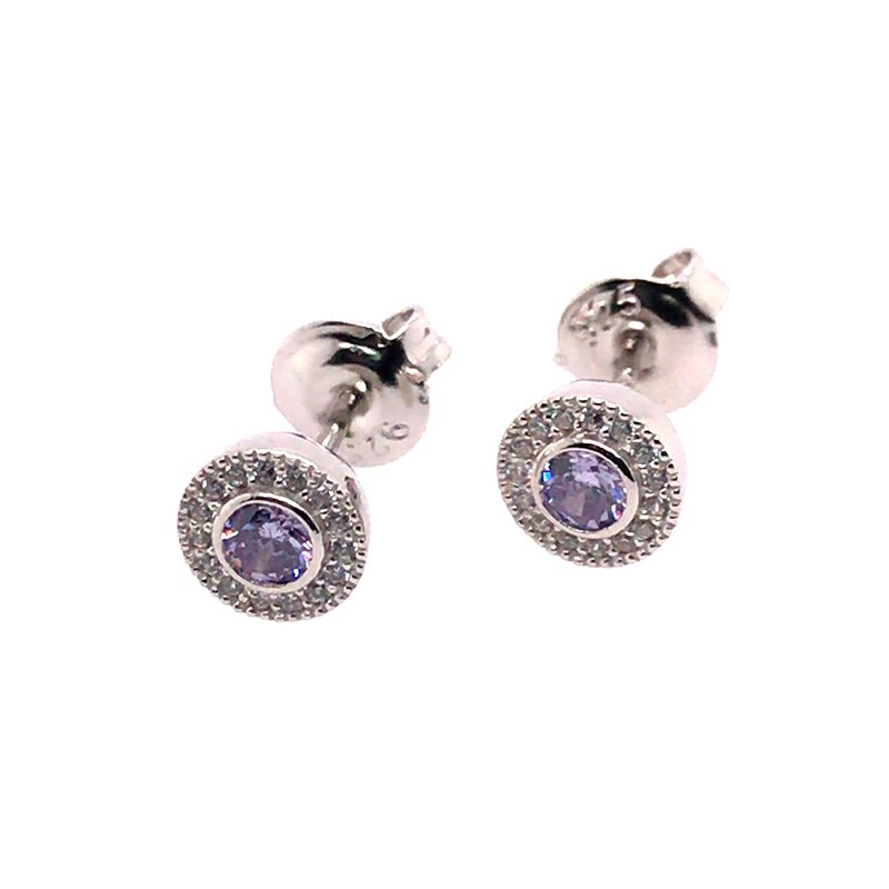 Kelly Waters Kelly Waters Micropave Round Simulated Light Amethyst Earrings With Simulated Diamonds