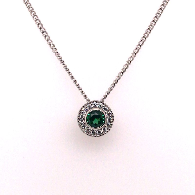 Kelly Waters Kelly Waters Round Simulated Emerald Gem Pendant With Simulated Diamonds