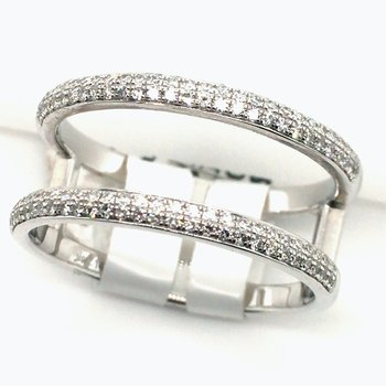 Ladies 14 Karat White Gold Diamond Double Band Ring 0.30 Carat
