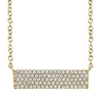 14 Karat Yellow Gold Diamond Bar Necklace 0.25 Carat