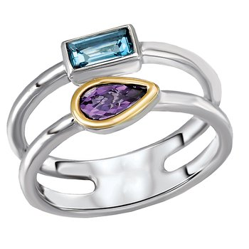 Eleganza Ladies Amethyst and Blue Topaz Ring