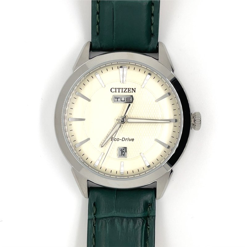 Citizen Citizen Watch with Green Leather Strap, Cream Texturized Dial, Eco Drive Technology Time And Date