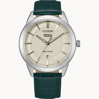 Citizen Watch with Green Leather Strap, Cream Texturized Dial, Eco Drive Technology Time And Date