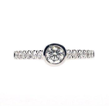 Diamond Center Bezel Set Ring