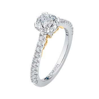 Carizza Round Diamond Engagement Ring in Two-Tone Gold (Semi-Mount)