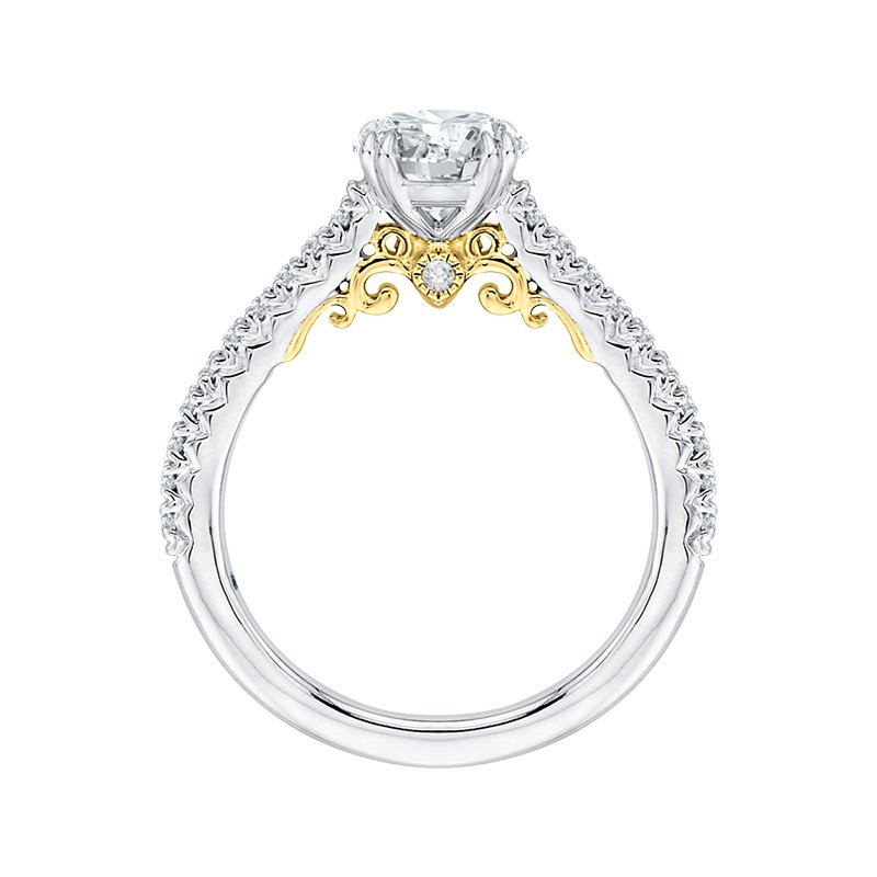 Shay Carizza Round Diamond Engagement Ring in Two-Tone Gold (Semi-Mount)