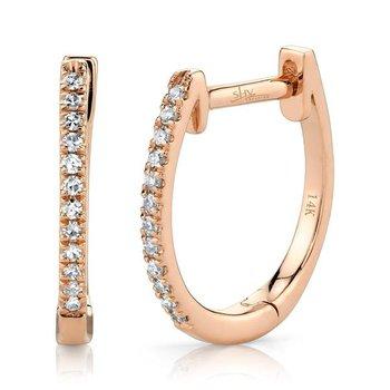 14 Karat Rose Gold 0.08 Carat Diamond Huggie Earring