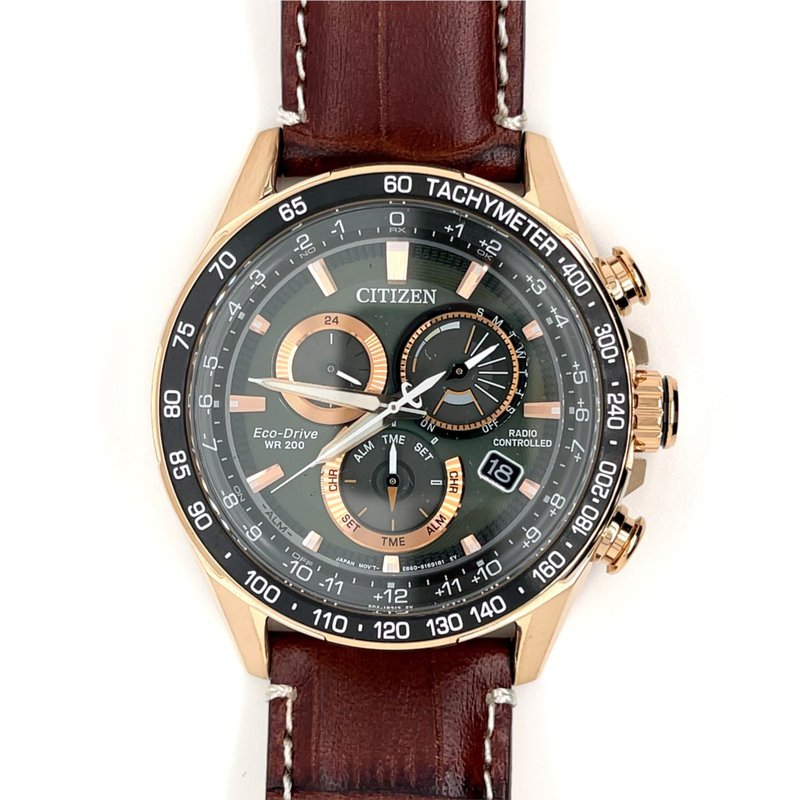 Citizen Citizen Watch with Rose Gold, Leather Strap, Green And Black Dial, Chronograph, Time And Date, Eco Drive Technology