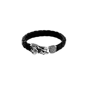 Leather Bracelet With Small Dragon Clasp