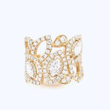 14 Karat Yellow Gold 1.87 Carat  Diamond Ladies Marquise and Round Ring