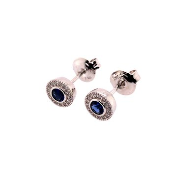 Kelly Waters Micropave Round Simulated Sapphire Earrings With Simulated Diamonds
