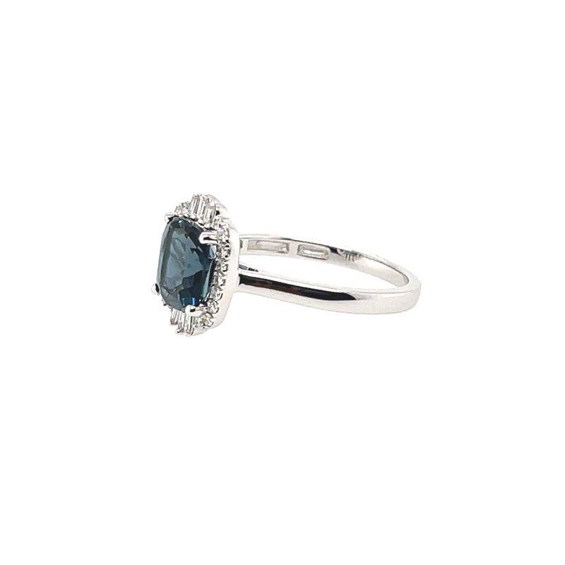 Variety Gem Round & Baguette Diamonds and Cushion Cut London Blue Topaz Ring
