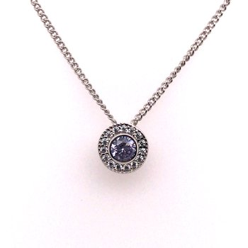 Kelly Waters Round Simulated Light Amethyst Gem Pendant With Simulated Diamonds