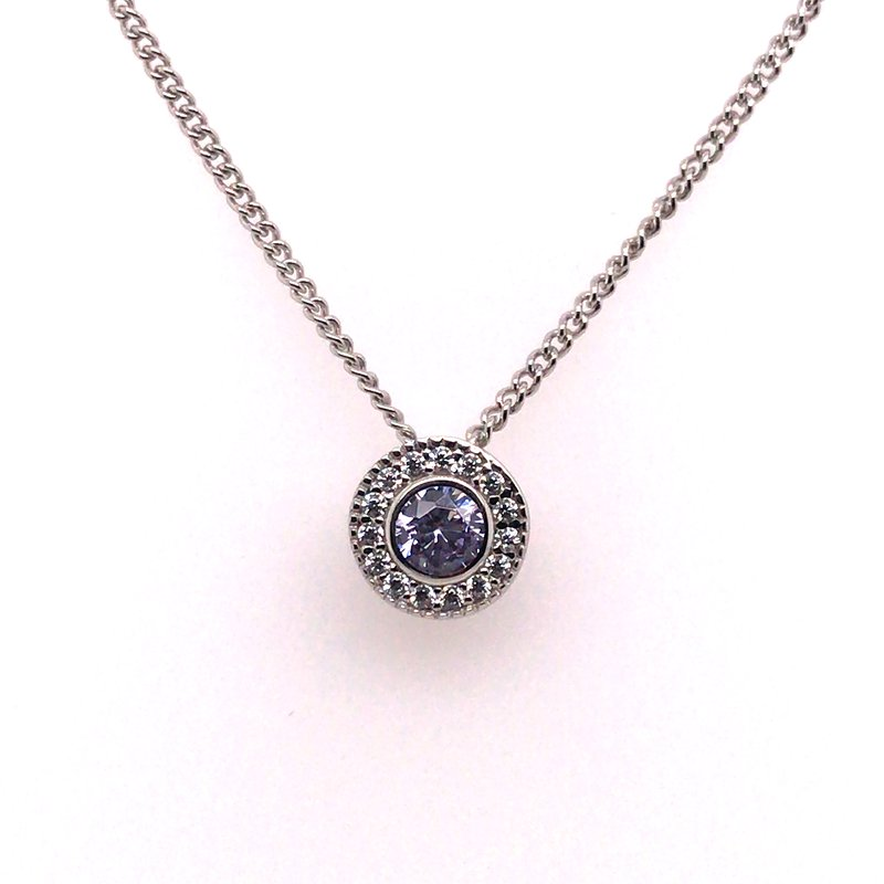 Kelly Waters Kelly Waters Round Simulated Light Amethyst Gem Pendant With Simulated Diamonds