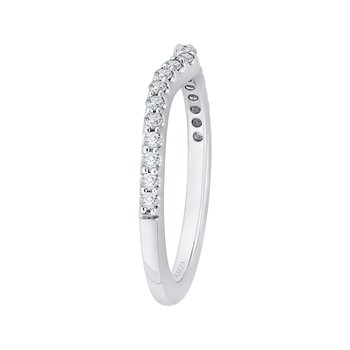Carizza 14 Karat White Gold Round Diamond Wedding Band