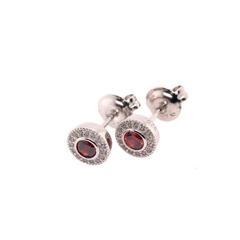 Kelly Waters Micropave Round Simulated Garnet Earrings With Simulated Diamonds