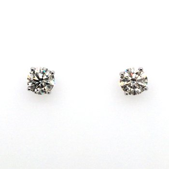 Carizza 14 Karat White Gold 4-Prong Diamond Screwback Earrings