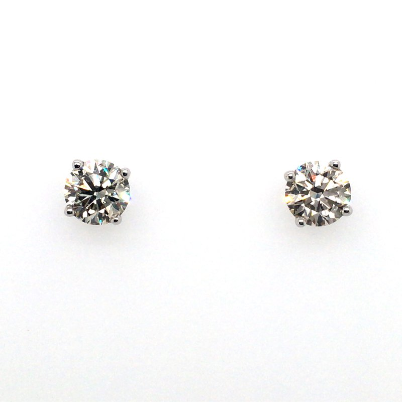 Shay Carizza 14 Karat White Gold 4-Prong Diamond Screwback Earrings