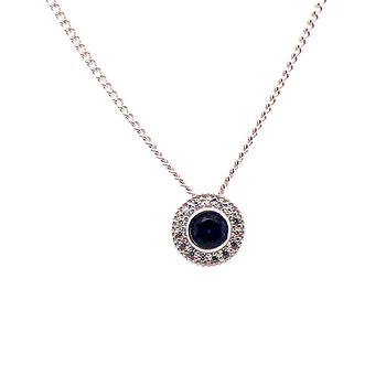 Kelly Waters Round Simulated Sapphire Gem Pendant With Simulated Diamonds