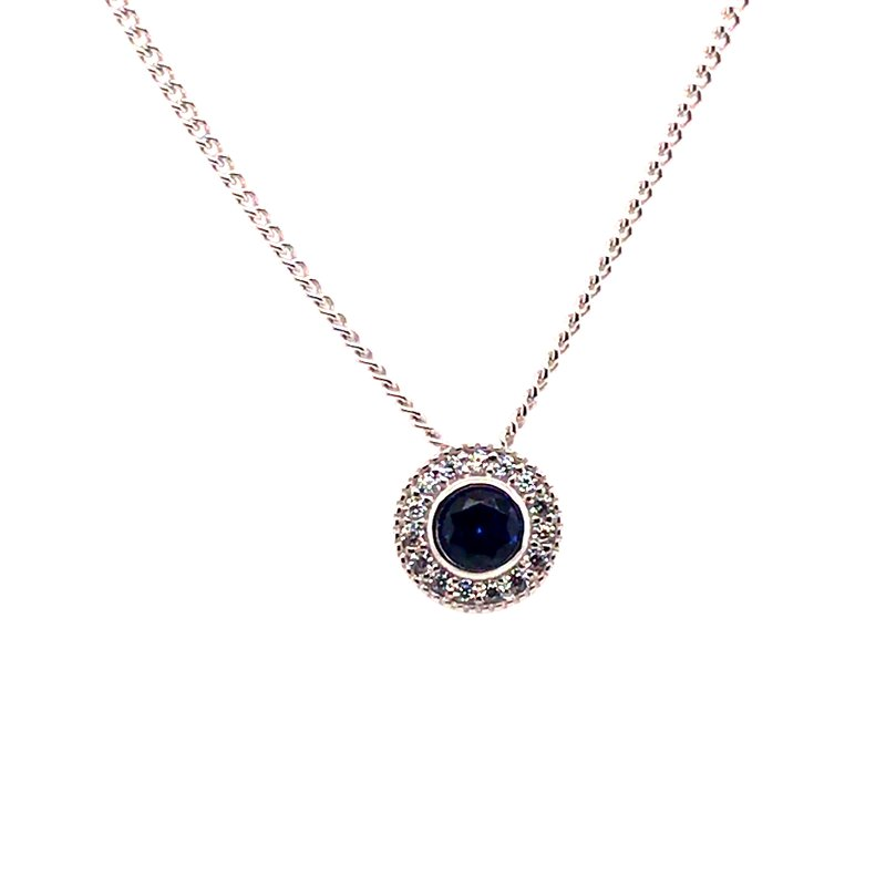 Kelly Waters Kelly Waters Round Simulated Sapphire Gem Pendant With Simulated Diamonds