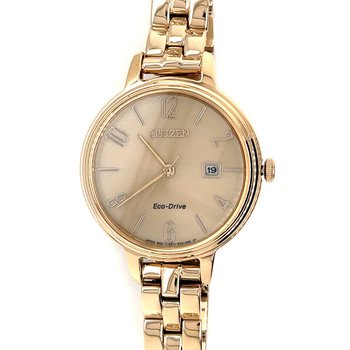 Citizen Watch With Rose Gold Plated Bracelet, Beige Dial, Rose Gold Hands And Numbers/Markings And Eco Drive Technology
