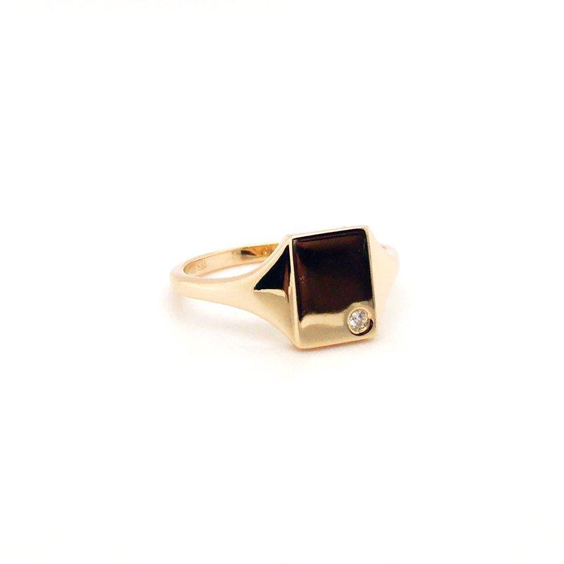 Kim International Mini Rectangle Signet Diamond Ring