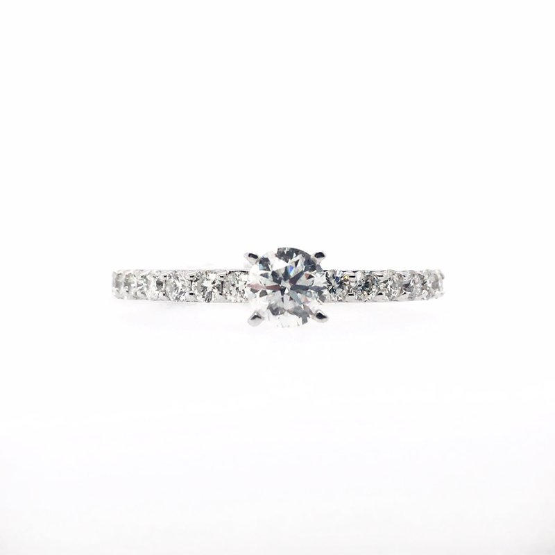 Gems One Diamond Band with Round Center Ring