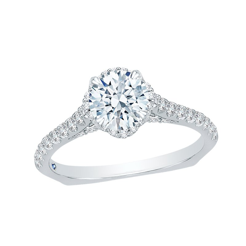 Shay Carizza Round Diamond Floral Engagement Ring with Euro Shank (Semi-Mount)