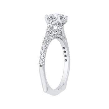Carizza Round Diamond Floral Engagement Ring with Euro Shank (Semi-Mount)