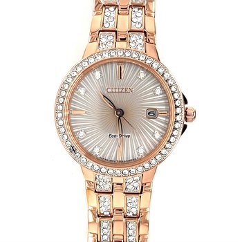Citizen Watch With Rose Gold Plated Bracelet, Swirl Texturized Rose Gold/Silver Dial With Sapphire Crystals In Bracelet And Bezel, Eco Drive Technology