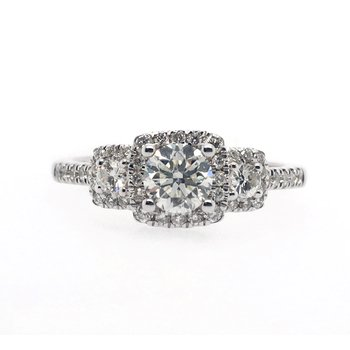 Three Stone and Halo Diamond Ring