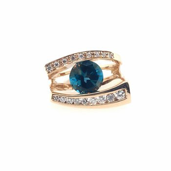 London Blue Topaz with Diamonds Ring