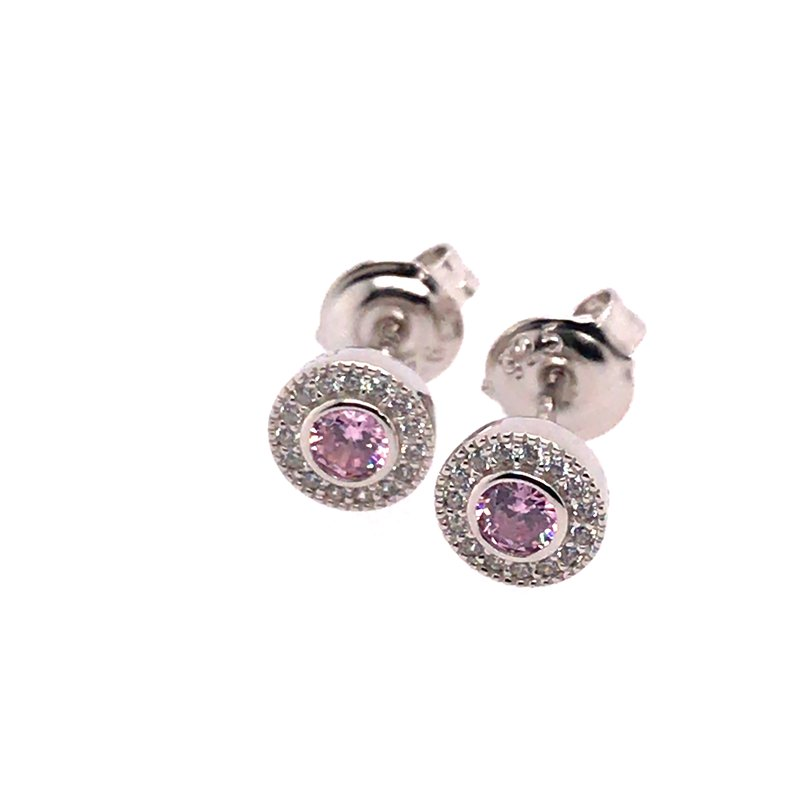 Kelly Waters Kelly Waters Micropave Round Simulated Pink Sapphire Earrings With Simulated Diamonds