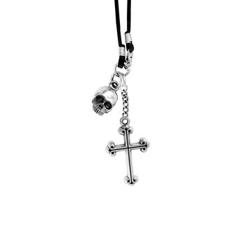 Hamlet Skull and Cross Pendant on Braided Cord