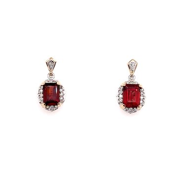 Two Tone White Gold And Yellow Gold Stud Drop Earrings With Diamonds And Garnet
